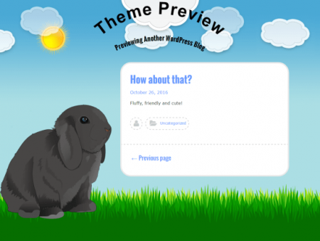 A theme with a decorative cartoon bunny, a blue sky with a grassy a field in the site footer. The content has a white background with blue and black texts.