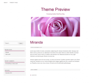 The theme has a top menu and a small header image area. The body background is white and there are light grey and pink accent colors.