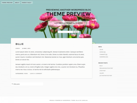 A theme with a turquoise header with a transparent menu. The body background color is off white, and the theme has a sidebar next to the main content.