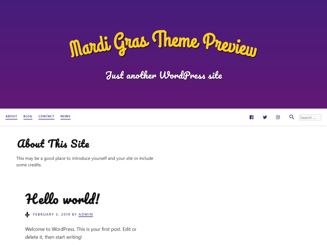 A white theme with a large header with a gradient background. The site title is curved and the post titles use a playful font.