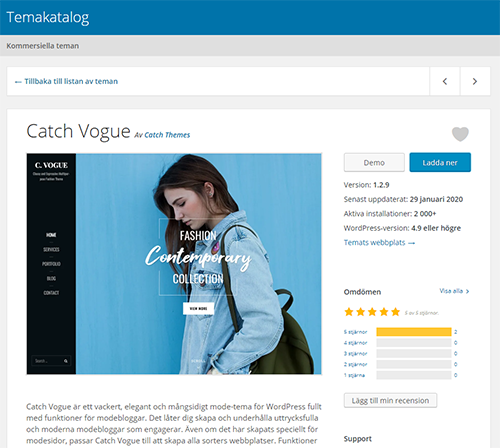 Screenshot of the official theme directory with Swedish translation. The image features the theme Catch Vogue.