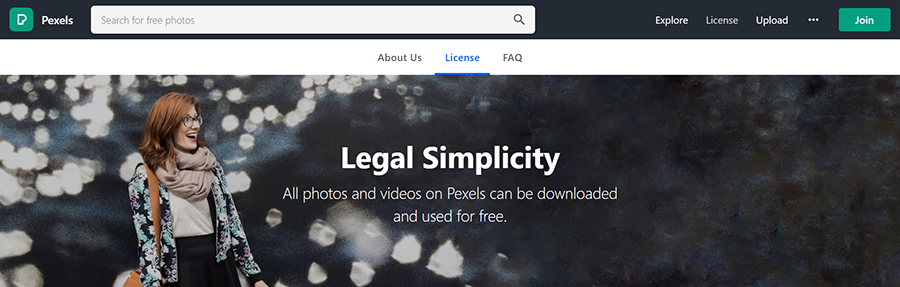 The header of the Pexels license pages, declaring that all photos are free.