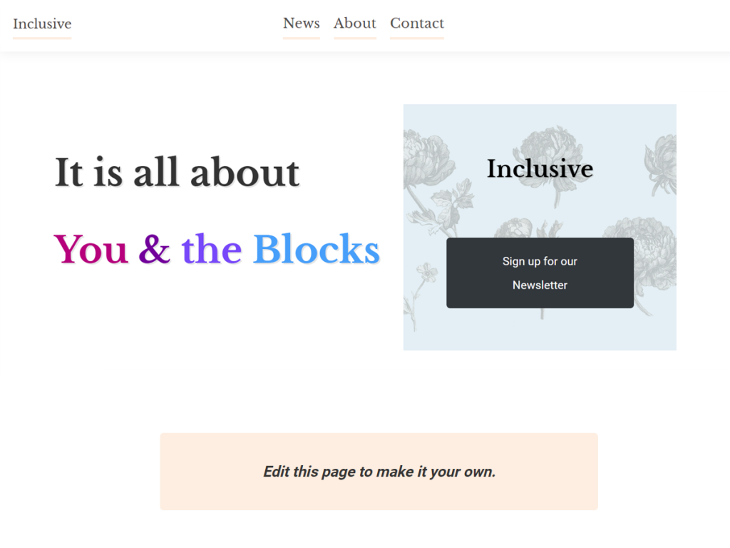 Screenshot of Inclusive, an accessible WordPress theme in white with black and peach details.