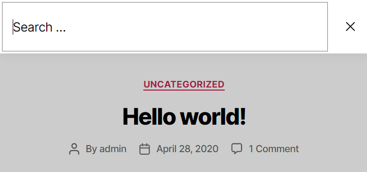 An image of the search modal in the Twenty Twenty WordPress theme. The input field is focused when the modal is opened, and there is a close button.